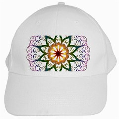 Prismatic Flower Floral Star Gold Green Purple White Cap by Alisyart