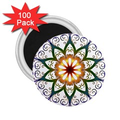 Prismatic Flower Floral Star Gold Green Purple 2 25  Magnets (100 Pack)  by Alisyart