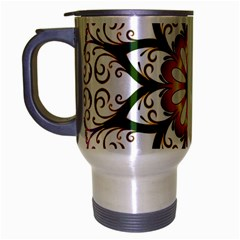 Prismatic Flower Floral Star Gold Green Purple Travel Mug (silver Gray) by Alisyart