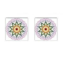 Prismatic Flower Floral Star Gold Green Purple Cufflinks (square) by Alisyart