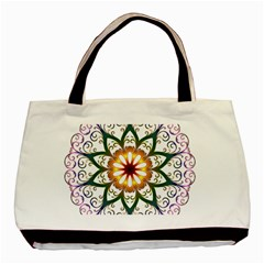 Prismatic Flower Floral Star Gold Green Purple Basic Tote Bag (two Sides) by Alisyart