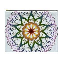 Prismatic Flower Floral Star Gold Green Purple Cosmetic Bag (xl) by Alisyart