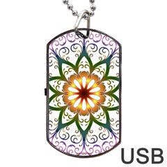 Prismatic Flower Floral Star Gold Green Purple Dog Tag Usb Flash (two Sides) by Alisyart
