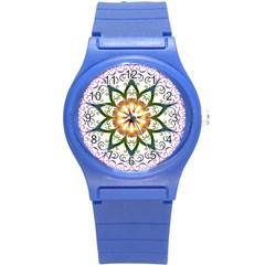 Prismatic Flower Floral Star Gold Green Purple Round Plastic Sport Watch (s) by Alisyart