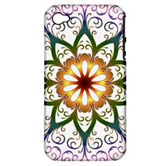 Prismatic Flower Floral Star Gold Green Purple Apple Iphone 4/4s Hardshell Case (pc+silicone) by Alisyart