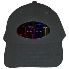 Space Light Lines Shapes Neon Green Purple Pink Black Cap by Alisyart