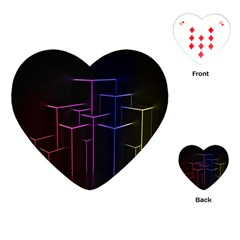 Space Light Lines Shapes Neon Green Purple Pink Playing Cards (heart)  by Alisyart