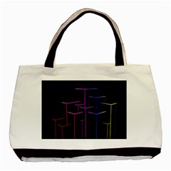 Space Light Lines Shapes Neon Green Purple Pink Basic Tote Bag (two Sides) by Alisyart