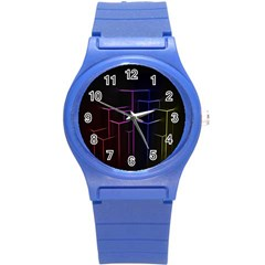 Space Light Lines Shapes Neon Green Purple Pink Round Plastic Sport Watch (s) by Alisyart