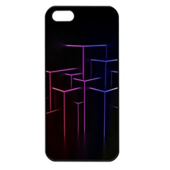 Space Light Lines Shapes Neon Green Purple Pink Apple Iphone 5 Seamless Case (black) by Alisyart
