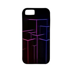 Space Light Lines Shapes Neon Green Purple Pink Apple Iphone 5 Classic Hardshell Case (pc+silicone) by Alisyart