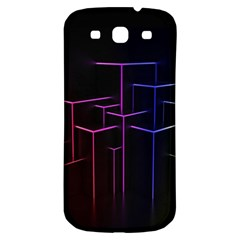 Space Light Lines Shapes Neon Green Purple Pink Samsung Galaxy S3 S Iii Classic Hardshell Back Case by Alisyart