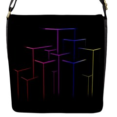 Space Light Lines Shapes Neon Green Purple Pink Flap Messenger Bag (s) by Alisyart
