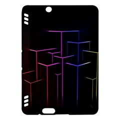 Space Light Lines Shapes Neon Green Purple Pink Kindle Fire Hdx Hardshell Case by Alisyart