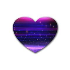 Space Planet Pink Blue Purple Rubber Coaster (heart)  by Alisyart