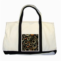 Seamless Cubes Texture Circle Black Orange Red Color Rainbow Two Tone Tote Bag by Alisyart