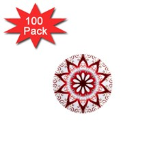 Prismatic Flower Floral Star Gold Red Orange 1  Mini Magnets (100 Pack)  by Alisyart