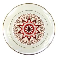 Prismatic Flower Floral Star Gold Red Orange Porcelain Plates by Alisyart