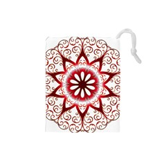Prismatic Flower Floral Star Gold Red Orange Drawstring Pouches (small)  by Alisyart