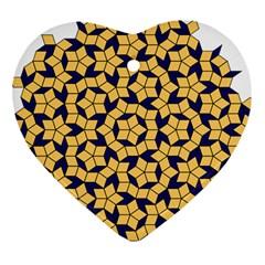Star Orange Blue Heart Ornament (two Sides) by Alisyart