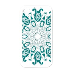 Vintage Floral Star Blue Green Apple Iphone 4 Case (white) by Alisyart