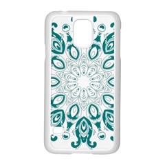 Vintage Floral Star Blue Green Samsung Galaxy S5 Case (white) by Alisyart