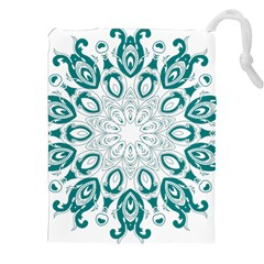 Vintage Floral Star Blue Green Drawstring Pouches (xxl) by Alisyart