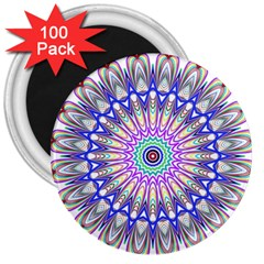Prismatic Line Star Flower Rainbow 3  Magnets (100 Pack) by Alisyart