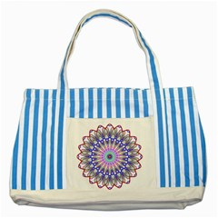 Prismatic Line Star Flower Rainbow Striped Blue Tote Bag by Alisyart