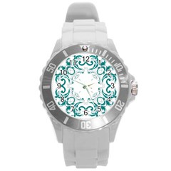 Vintage Floral Style Frame Round Plastic Sport Watch (l) by Alisyart