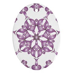 Frame Flower Star Purple Oval Ornament (two Sides) by Alisyart