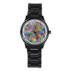 Glass Rainbow Color Stainless Steel Round Watch by Alisyart