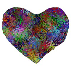 Glass Rainbow Color Large 19  Premium Flano Heart Shape Cushions by Alisyart