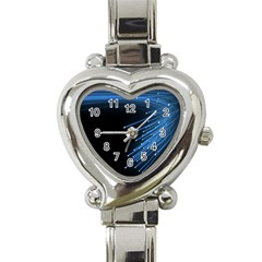 Abstract Light Rays Stripes Lines Black Blue Heart Italian Charm Watch by Alisyart