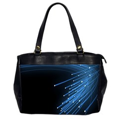 Abstract Light Rays Stripes Lines Black Blue Office Handbags (2 Sides)  by Alisyart