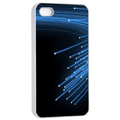 Abstract Light Rays Stripes Lines Black Blue Apple Iphone 4/4s Seamless Case (white) by Alisyart