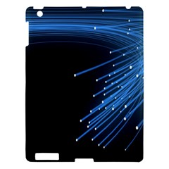 Abstract Light Rays Stripes Lines Black Blue Apple Ipad 3/4 Hardshell Case by Alisyart
