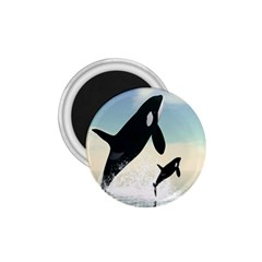 Whale Mum Baby Jump 1 75  Magnets by Alisyart