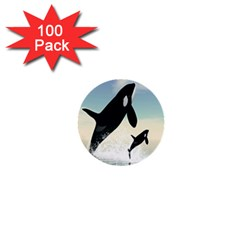 Whale Mum Baby Jump 1  Mini Buttons (100 Pack)  by Alisyart