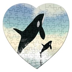 Whale Mum Baby Jump Jigsaw Puzzle (heart) by Alisyart
