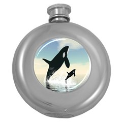 Whale Mum Baby Jump Round Hip Flask (5 Oz) by Alisyart