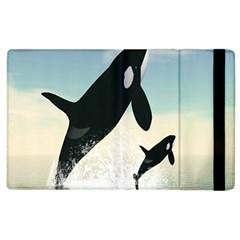 Whale Mum Baby Jump Apple Ipad 3/4 Flip Case by Alisyart