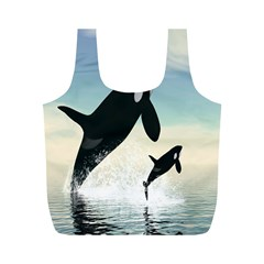 Whale Mum Baby Jump Full Print Recycle Bags (m)  by Alisyart