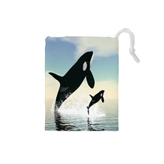 Whale Mum Baby Jump Drawstring Pouches (small)  by Alisyart