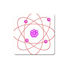 Atom Physical Chemistry Line Red Purple Space Square Magnet by Alisyart