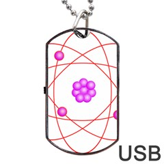 Atom Physical Chemistry Line Red Purple Space Dog Tag Usb Flash (two Sides) by Alisyart
