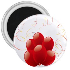 Balloon Partty Red 3  Magnets by Alisyart