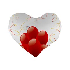 Balloon Partty Red Standard 16  Premium Heart Shape Cushions by Alisyart