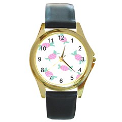 Candy Pink Blue Sweet Round Gold Metal Watch