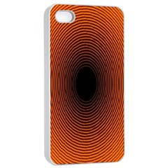 Abstract Circle Hole Black Orange Line Apple Iphone 4/4s Seamless Case (white) by Alisyart